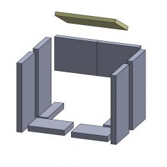 Feuerraumauskleidung Heizgasumlenkplatte 335 x 210 x 20 mm Deckenzugplatte Umlenkplatte, Flamado | schamotte-shop.de