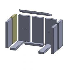 Wandstein vorne/hinten links/rechts 320x134x30mm (Vermiculite)