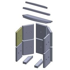 Wandstein vorne oben/unten links 230x175x25mm (Vermiculite)