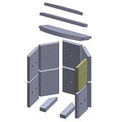 Wandstein vorne oben/unten rechts 230x175x25mm (Vermiculite)