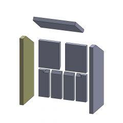 Wandstein links/rechts 556x240x30mm (Vermiculite)