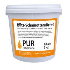 Blitz-Schamottemörtel 1kg Dose  Detail | PUR Schamotte | Schamotte-Shop.de
