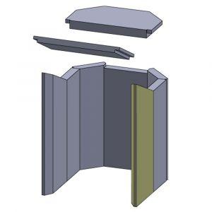 Wandstein vorne rechts 448x165x30mm (Schamotte)