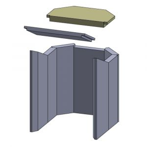 Heizgasumlenkplatte oben 315x160x20mm (Vermiculite)