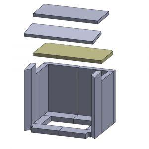 Heizgasumlenkplatte unten 395x190x20mm (Vermiculite)