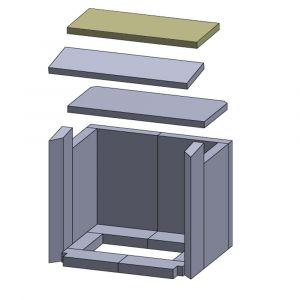 Heizgasumlenkplatte oben 375x170x20mm (Vermiculite)