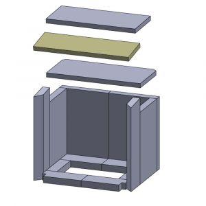 Heizgasumlenkplatte mitte 400x130x20mm (Vermiculite)