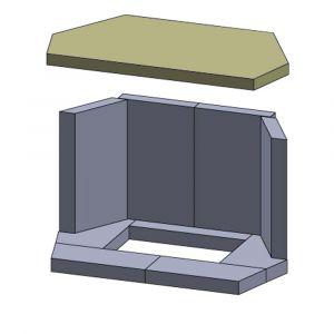 Heizgasumlenkplatte 526x290x25mm (Vermiculite)