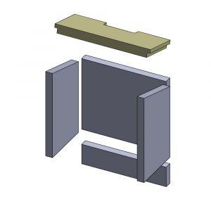 Feuerraumauskleidung Heizgasumlenkplatte 412 x 167 x 30 mm Deckenzugplatte Umlenkplatte, Flamado | schamotte-shop.de