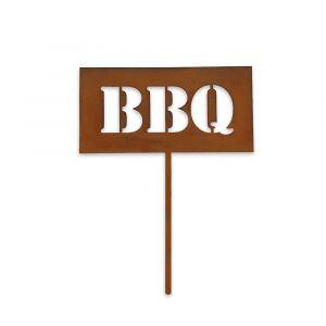 Gartenschild BBQ 30cm in Edelrostoptik | unempfindlich