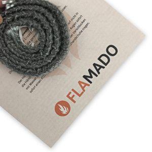 Dichtschnur flach 9x4mm / 2m selbstklebend | Gesamtansicht eingedreht | Flamado | Schamotte-Shop.de