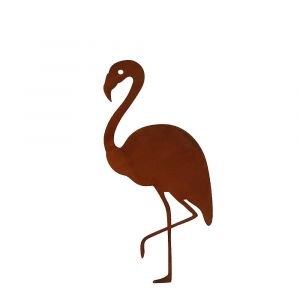 Gartenstecker Flamingo Helge 77cm | Skandinavisches Design | Edelrostoptik