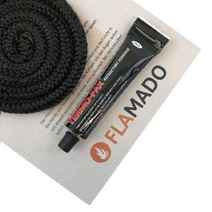 Glasgewebe Ofendichtschnur D:10mm L:3m | inkl. Hochtemperaturkleber | Koppe | Dichtschnur | Flamado | Schamotte-Shop.de