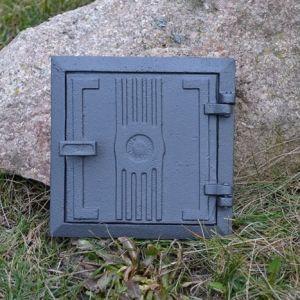 Ofentür aus Gusseisen 17 x 17 cm schwarz