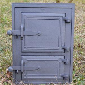 Ofentür aus Gusseisen 29 x 39 cm schwarz