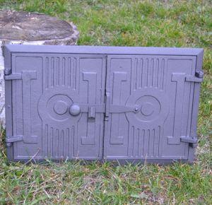 Ofentür aus Gusseisen 42 x 27 cm schwarz