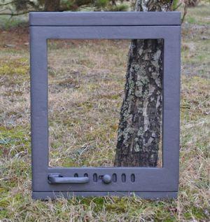Ofentür aus Gusseisen 47 x 60 cm schwarz