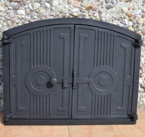 Ofentür aus Gusseisen 48 x 38 cm schwarz