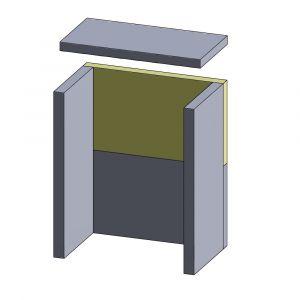 Rückwandstein oben/unten 410x225x30mm (Schamotte)