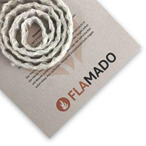 Dichtschnur flach 10x5mm / 3m selbstklebend | Gesamtansicht eingedreht | Flamado | Schamotte-Shop.de