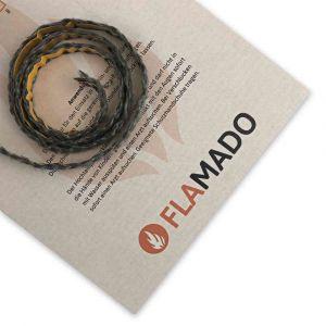 Dichtschnur flach 8x2mm / 1m selbstklebend | Gesamtansicht eingedreht | Flamado | Schamotte-Shop.de