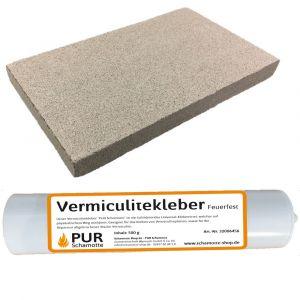 Vermiculitereparatur-Set - Vermiculiteplatte 400x300x20mm + Vermiculitekleber 500g