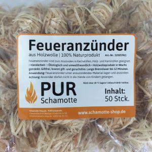 """Feueranzünder 50 Stück """"PUR Schamotte"""" aus Holzwolle"""