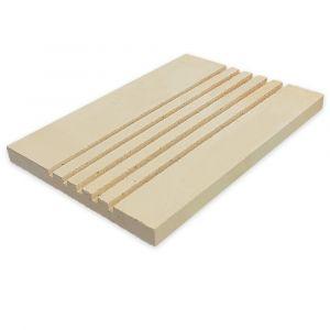 Rillenplatte Schamotte 436x300x30mm | Vorderansicht | universal einsetzbar | PUR Schamotte | Schamotte-Shop.de