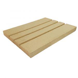 Rillenplatte Schamotte 400x300x30mm 3 Rillen | universal einsetzbar | PUR Schamotte | Schamotte-Shop.de
