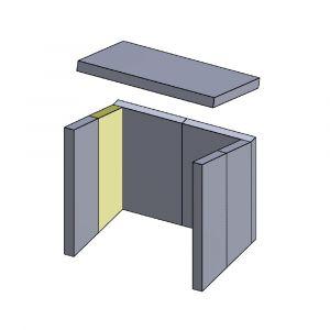 Wandstein hinten links/rechts 375x146x30mm (Vermiculite)