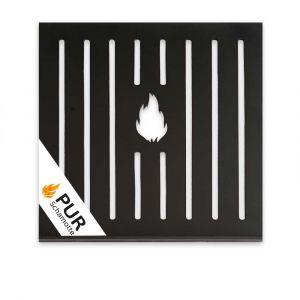 Ascherost aus Stahl 300x300x8mm | Grillplatz Porto | Frontansicht Logo | univeral einsetzbar | PUR Schamotte | Schamotte-Shop.de