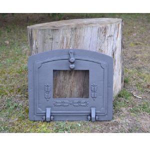 Ofentür aus Gusseisen 36,5 x 32 cm schwarz