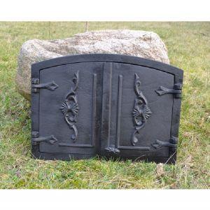Ofentür aus Gusseisen 55,5 x 41 cm schwarz