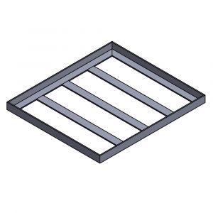 Stahlrahmen Basisplatte 1350x1150x80mm | passend für Pizzaofen Bausatz Merano Basic & Merano Premium| Frontansicht Logo | PUR Schamotte | Schamotte-Shop.de