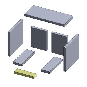 Bodenstein vorne 225x62x25mm (Vermiculite)