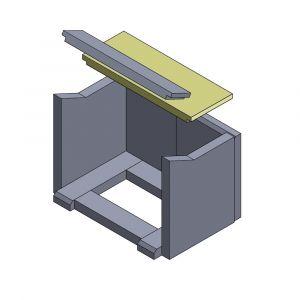 Heizgasumlenkplatte hinten 420x160x25mm (Schamotte)