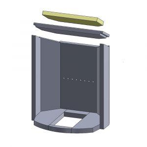 Heizgasumlenkplatte oben 366x190x25mm (Vermiculite)