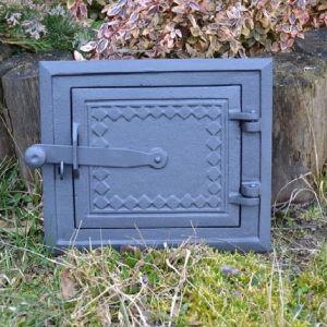 Ofentür aus Gusseisen 25,5 x 21,5 cm schwarz