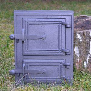 Ofentür aus Gusseisen 26 x 35 cm schwarz