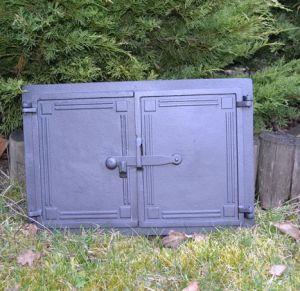 Ofentür aus Gusseisen 47,5 x 32,5 cm schwarz