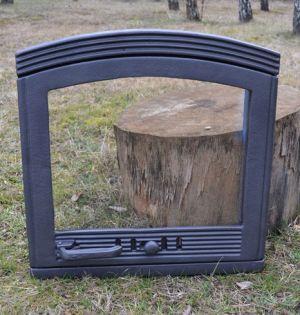 Ofentür aus Gusseisen 48,5 x 49,5 cm schwarz