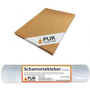 Schamottereparatur-Set - Schamotteplatte 300x200x30mm + Schamottekleber 500g