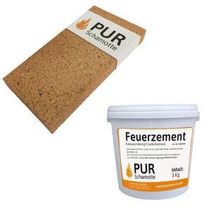 Schamottereparatur-Set - Schamottstein NF2-30 + Feuerzement 3kg