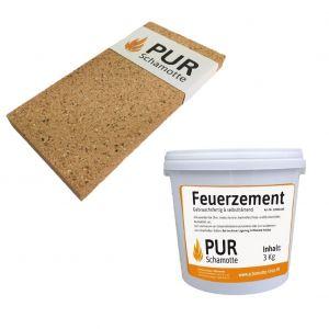 Schamottereparatur-Set - Schamottstein NF2-20 + Feuerzement 3kg