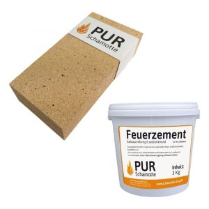 Schamottereparatur-Set - Schamottstein NF2 + Feuerzement 3kg