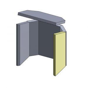 Wandstein vorne rechts 450x204x30mm (Schamotte)