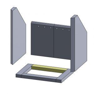 Bodenstein hinten/vorne 284x45x25mm (Vermiculite)