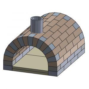 Pizzaofen Bausatz Toskana Basic | Frontansicht | PUR Schamotte | Schamotte-Shop.de