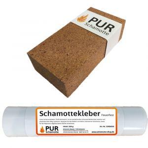 Schamottereparatur-Set - Schamottstein NF1 + Schamottekleber 500g