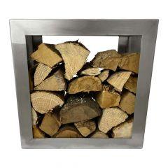 Brennholzregal 50 x 50 cm aus Edelstahlstal | Schamotte-Shop.de